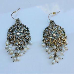 Avon earrings pearl silver star crystal
